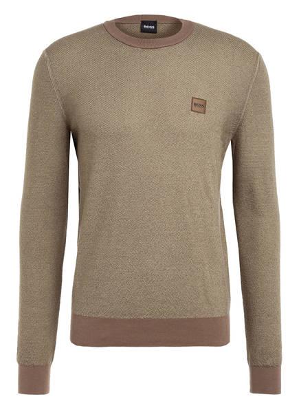 BOSS Pullover KOLLEGE aus Schurwolle, Farbe: HELLKHAKI (Bild 1)