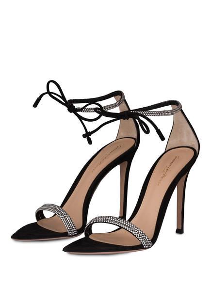 Gianvito Rossi Sandaletten mit Schmucksteinbesatz, Farbe: SCHWARZ (Bild 1)