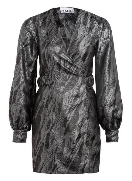 GANNI Jacquard-Kleid zum Wickeln mit Glitzergarn , Farbe: DUNKELGRAU (Bild 1)