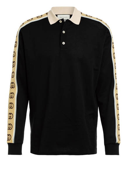 GUCCI Piqué-Poloshirt mit Galonstreifen, Farbe: SCHWARZ/ BEIGE (Bild 1)