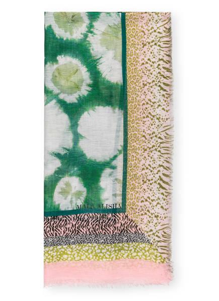 MALA ALISHA Tuch ART EXHIBITION mit Leinen, Farbe: GRÜN/ WEISS/ ROSA (Bild 1)