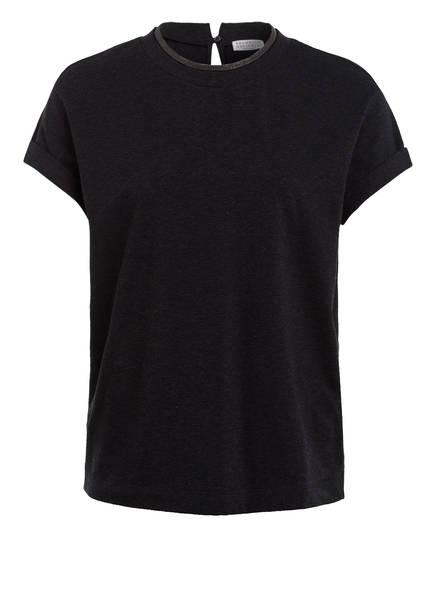 BRUNELLO CUCINELLI T-Shirt mit Schmucksteinbesatz, Farbe: DUNKELGRAU (Bild 1)