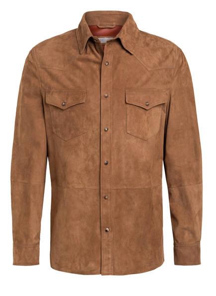 BRUNELLO CUCINELLI Overshirt aus Leder, Farbe: COGNAC (Bild 1)
