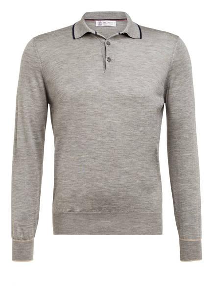BRUNELLO CUCINELLI Cashmere-Poloshirt mit Seide, Farbe: GRAU MELIERT (Bild 1)