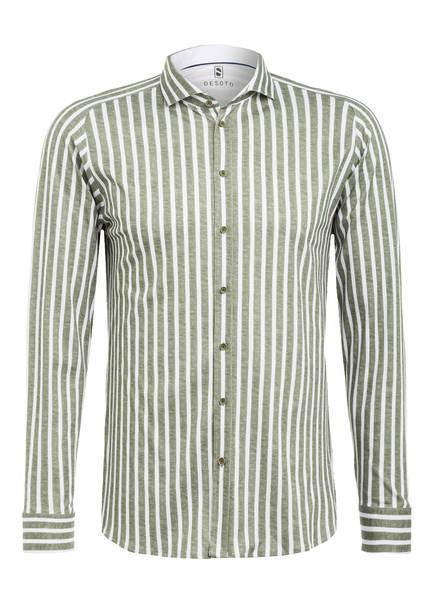DESOTO Jerseyhemd Slim Fit, Farbe: DUNKELGRÜN/ WEISS GESTREIFT (Bild 1)