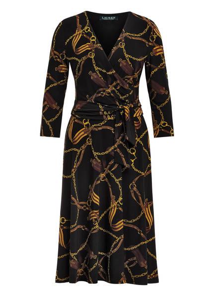 LAUREN RALPH LAUREN Kleid in Wickeloptik, Farbe: SCHWARZ/ DUNKELGELB/ BRAUN (Bild 1)