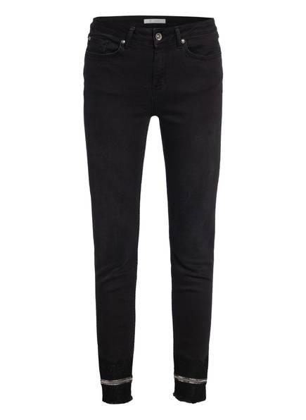 monari 7/8-Jeans mit Spitzen- und Paillettenbesatz, Farbe: 999 SCHWARZ (Bild 1)