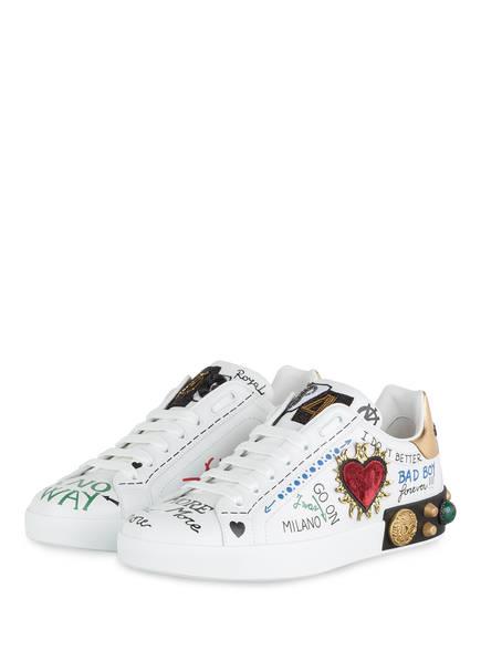 DOLCE&GABBANA Sneaker PORTOFINO mit Schmucksteinbesatz, Farbe: WEISS/ GOLD/ SCHWARZ (Bild 1)