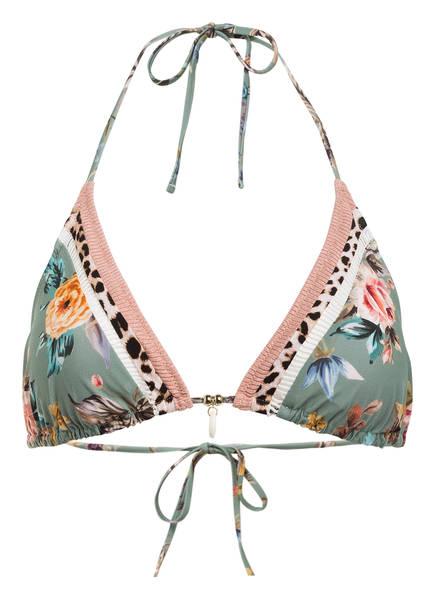 watercult Triangel-Bikini-Top BOHO BLOSSOM, Farbe: GRÜN/ ROSÉ/ DUNKELGELB (Bild 1)