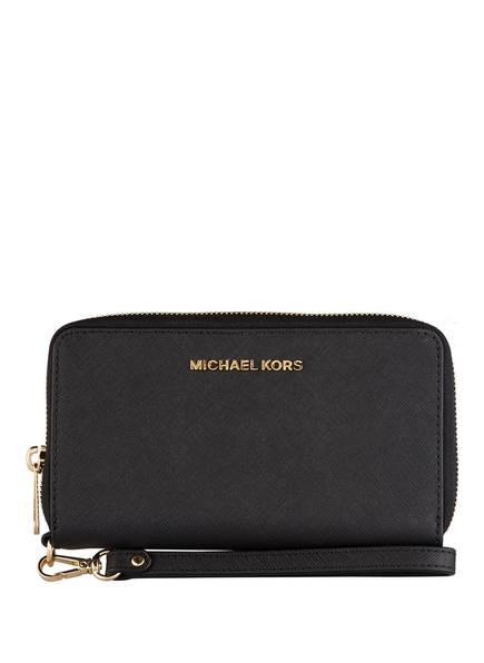MICHAEL KORS Saffiano-Geldbörse JET SET TRAVEL mit Smartphone-Fach, Farbe: SCHWARZ (Bild 1)