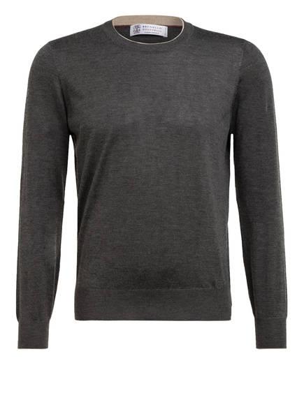 BRUNELLO CUCINELLI Cashmere-Pullover mit Seide, Farbe: DUNKELGRAU (Bild 1)