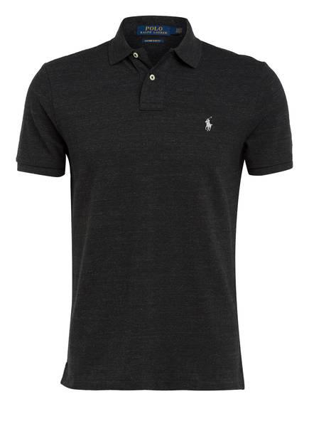 POLO RALPH LAUREN Piqué-Poloshirt Custom Slim Fit, Farbe: SCHWARZ MELIERT (Bild 1)