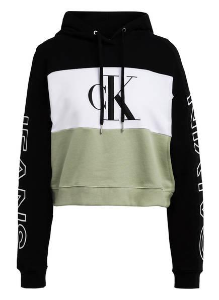 Calvin Klein Jeans Cropped-Hoodie, Farbe: SCHWARZ/ WEISS/ HELLGRÜN (Bild 1)