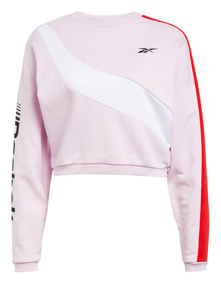 Reebok Cropped-Sweatshirt MEET YOU THERE, Farbe: ROSA/ WEISS/ ROT (Bild 1)