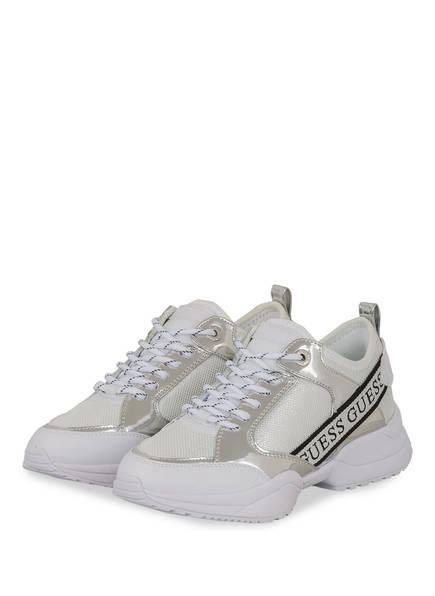 GUESS Plateau-Sneaker RUNNER BREETA, Farbe: WEISS/ SILBER (Bild 1)