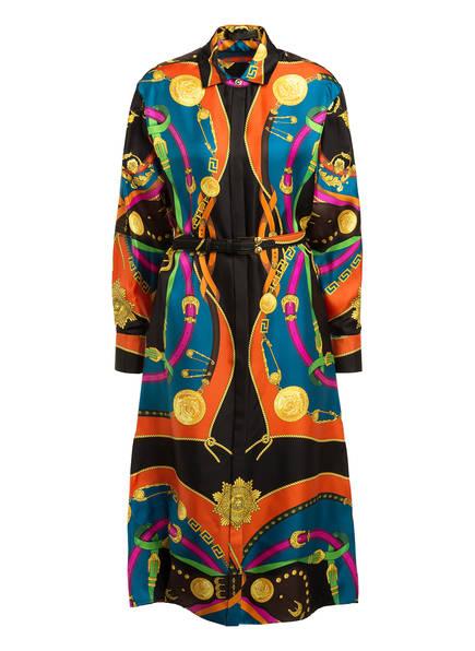 VERSACE Hemdblusenkleid aus Seide, Farbe: SCHWARZ/ ORANGE/ PETROL (Bild 1)