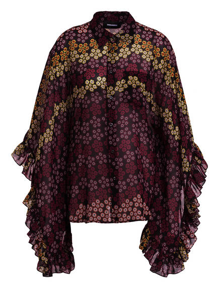 DSQUARED2 Bluse mit 3/4-Arm, Farbe: SCHWARZ/ DUNKELROT/ GELB (Bild 1)