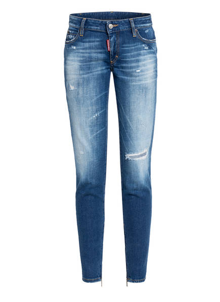 DSQUARED2 Destroyed Skinny Jeans RAMMENDO, Farbe: 470 BLUE (Bild 1)
