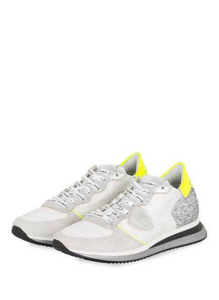 PHILIPPE MODEL Sneaker MONDIAL GLITTER, Farbe: WEISS/ HELLGRAU/ SILBER (Bild 1)