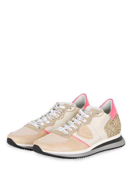 PHILIPPE MODEL Sneaker MONDIAL GLITTER, Farbe: BEIGE/ GOLD (Bild 1)