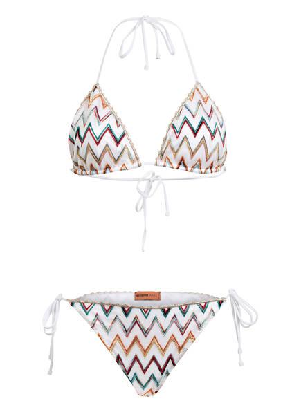 MISSONI Triangel-Bikini , Farbe: WEISS/ GOLD/ GRÜN (Bild 1)