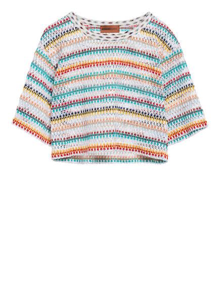 MISSONI Cropped-Shirt, Farbe: WEISS/ TÜRKIS/ ORANGE (Bild 1)