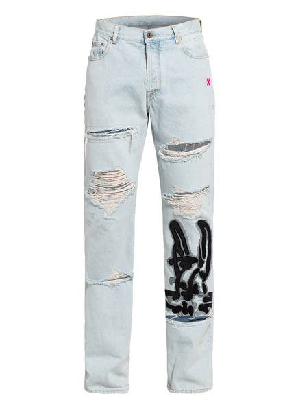 OFF-WHITE Destroyed Jeans Lowed Fit, Farbe: LIGHT BLUE (Bild 1)
