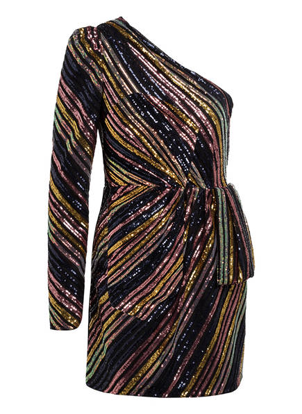 self-portrait One-Shoulder-Kleid mit Paillettenbesatz , Farbe: SCHWARZ/ GOLD/ ROSE (Bild 1)