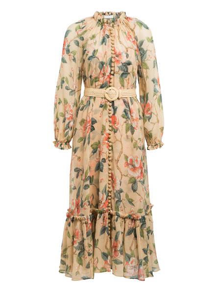 ZIMMERMANN Kleid KIRRA mit abnehmbarem Gürtel, Farbe: NUDE/ LACHS/ OLIV (Bild 1)