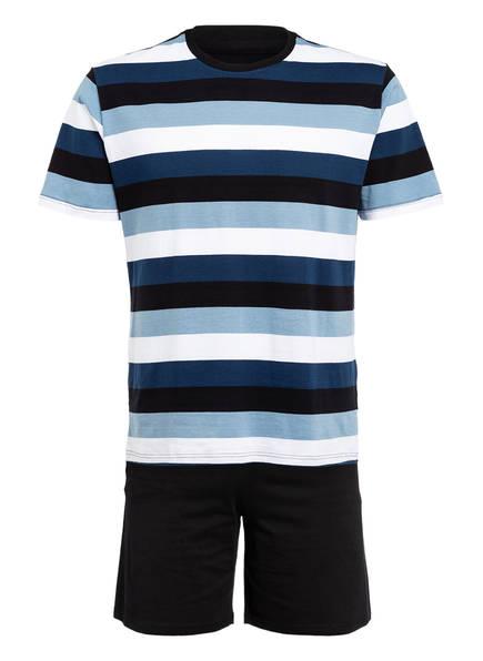 SCHIESSER Shorty-Schlafanzug , Farbe: DUNKELBLAU/ HELLBLAU/ WEISS (Bild 1)