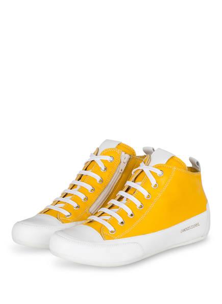 Candice Cooper Hightop-Sneaker MID, Farbe: WEISS/ DUNKELGELB (Bild 1)