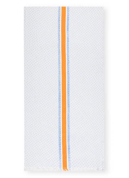 HEMISPHERE Cashmere-Schal mit Seide , Farbe: WEISS/ HELLBLAU (Bild 1)