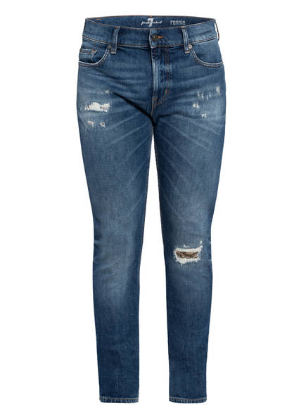 7 for all mankind Destroyed Jeas RONNIE Slim Fit , Farbe: MID BLUE (Bild 1)