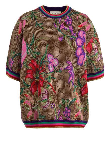 GUCCI Pullover GG FLORA mit 3/4-Arm, Farbe: BEIGE/ BRAUN (Bild 1)