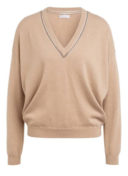 BRUNELLO CUCINELLI Cashmere-Pullover mit Schmucksteinbesatz, Farbe: BEIGE (Bild 1)