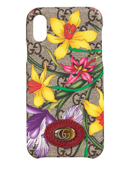GUCCI Smartphone-Hülle OPHIDIA GG FLORA, Farbe: BEIGE EBONY/ ROSSO (Bild 1)