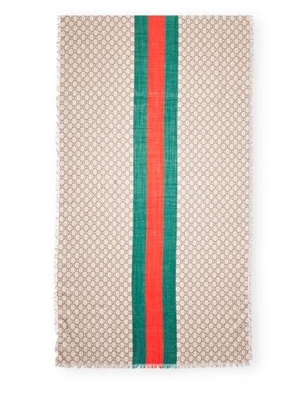 GUCCI Schal, Farbe: BEIGE/DARK GREEN (Bild 1)