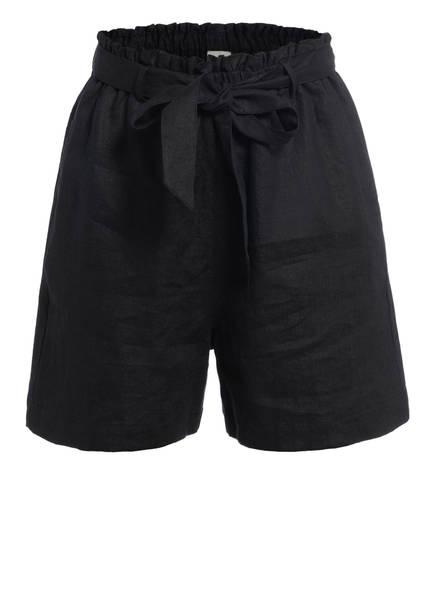 Mrs & HUGS Paperbag-Shorts aus Leinen, Farbe: SCHWARZ (Bild 1)