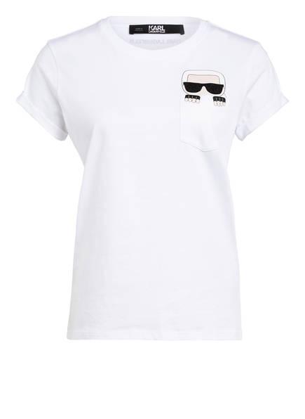 KARL T-Shirt IKONIK mit Schmucksteinbesatz , Farbe: WEISS (Bild 1)