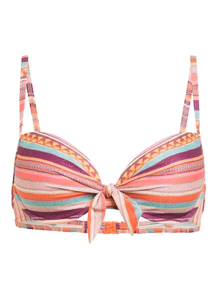 watercult Bügel-Bikini-Top SOUVENIR STRIPE , Farbe: ORANGE/ DUNKELROT/ MINT (Bild 1)