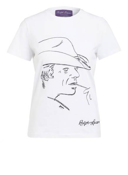 RALPH LAUREN Collection T-Shirt mit Schmucksteinbesatz , Farbe: WEISS (Bild 1)