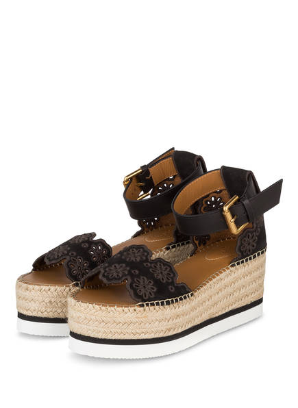 SEE BY CHLOÉ Plateau-Wedges, Farbe: SCHWARZ/ TAUPE (Bild 1)