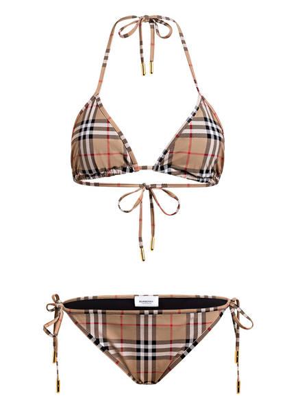 BURBERRY Triangel-Bikini, Farbe: BEIGE/ SCHWARZ/ ROT (Bild 1)