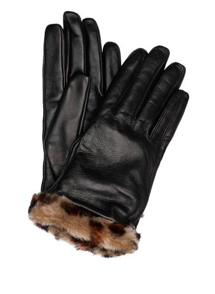 UGG Lederhandschuhe mit Echtfellbesatz und Touch-Funktion, Farbe: DUNKELBRAUN (Bild 1)
