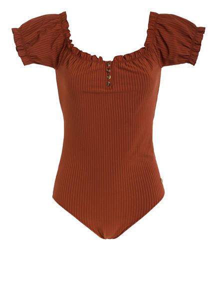 LOVE Stories Off-Shoulder-Badeanzug ANDREA , Farbe: BRAUN (Bild 1)