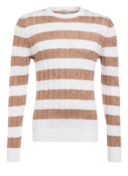 eleventy Pullover mit Leinen , Farbe: WEISS/ HELLBRAUN (Bild 1)