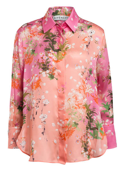 GIVENCHY Hemdbluse aus Seide, Farbe: ROSA/ HELLORANGE/ GRÜN (Bild 1)