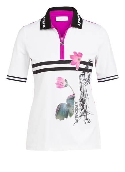 SPORTALM Poloshirt mit Schmucksteinbesatz, Farbe: WEISS/ SCHWARZ/ FUCHSIA (Bild 1)
