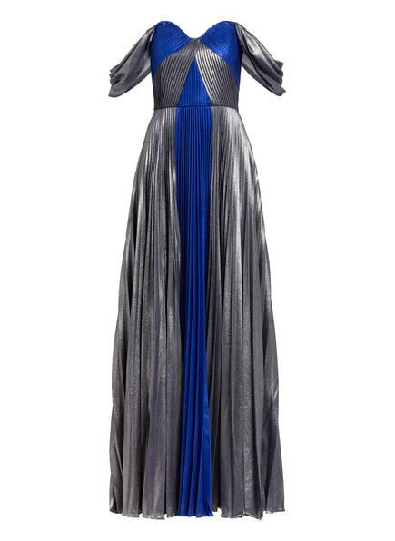 MARCHESA NOTTE Off-Shoulder-Abendkleid, Farbe: GRAU/ BLAU/ SILBER (Bild 1)