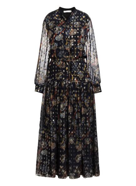Chloé Seidenkleid mit Glitzergarn, Farbe: DUNKELBLAU/ BEIGE/ ORANGE (Bild 1)